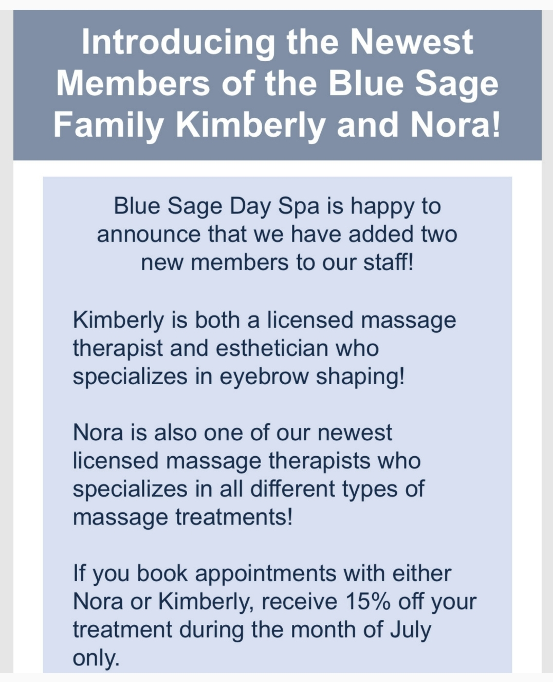 July Special: New Therapists